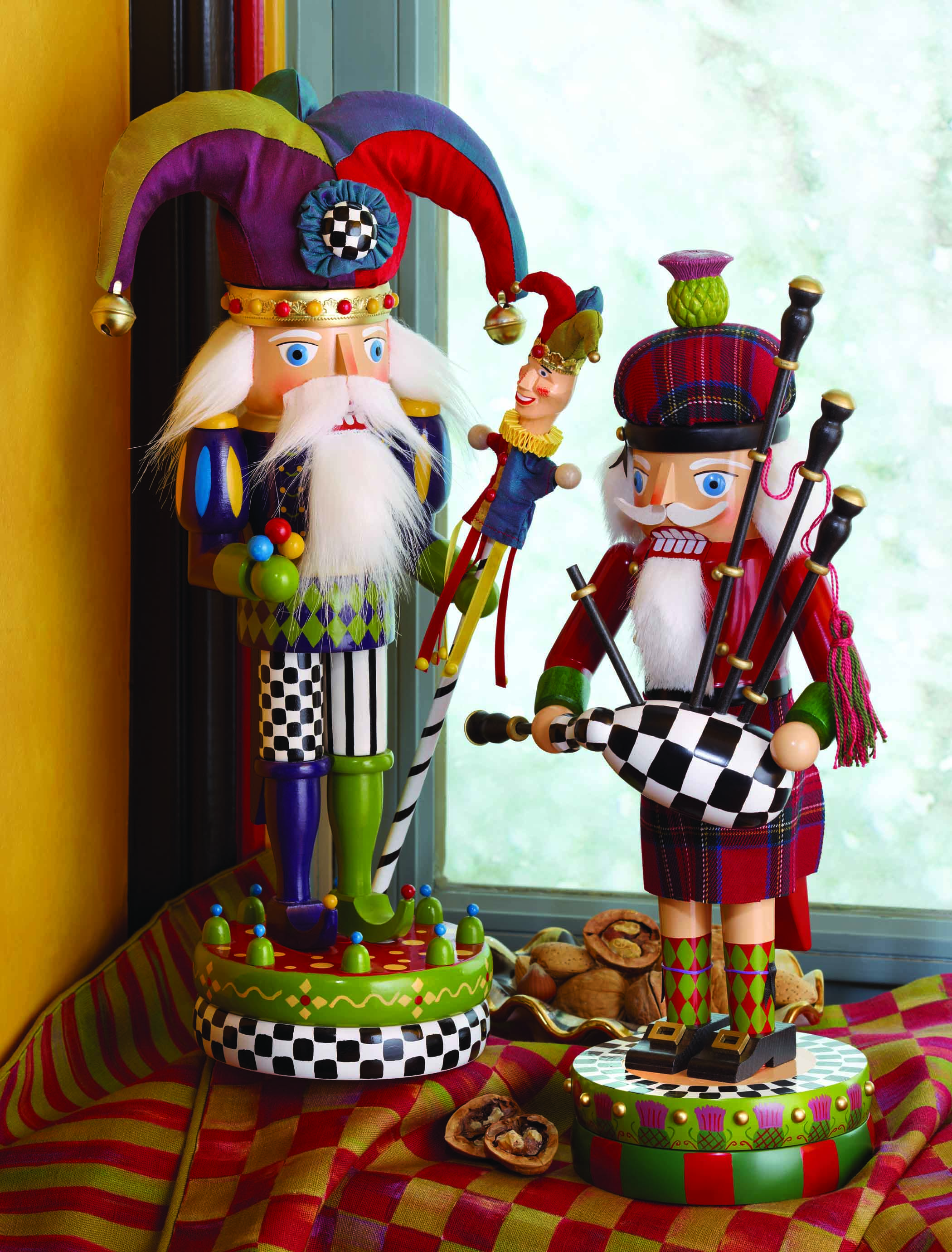 Bright and Cheerful Nutcrackers form MacKenzie Childs.