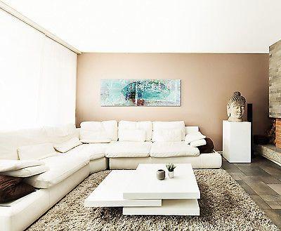 Details zu 150x50cm Panoramabild Paul Sinus Art Abstrakt türkis - Wohnzimmer In Weis Und Braun