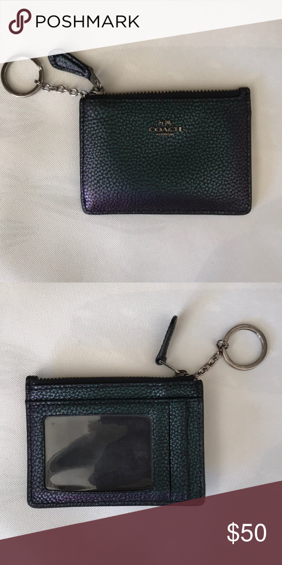 4df471a98481c Coach wallet Small coach wallet card holder with a zipper pouch and ID slot Coach  Bags Wallets
