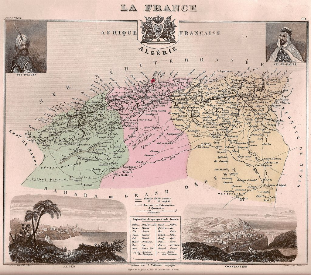 1877 map of the three French departments of Alger, Oran