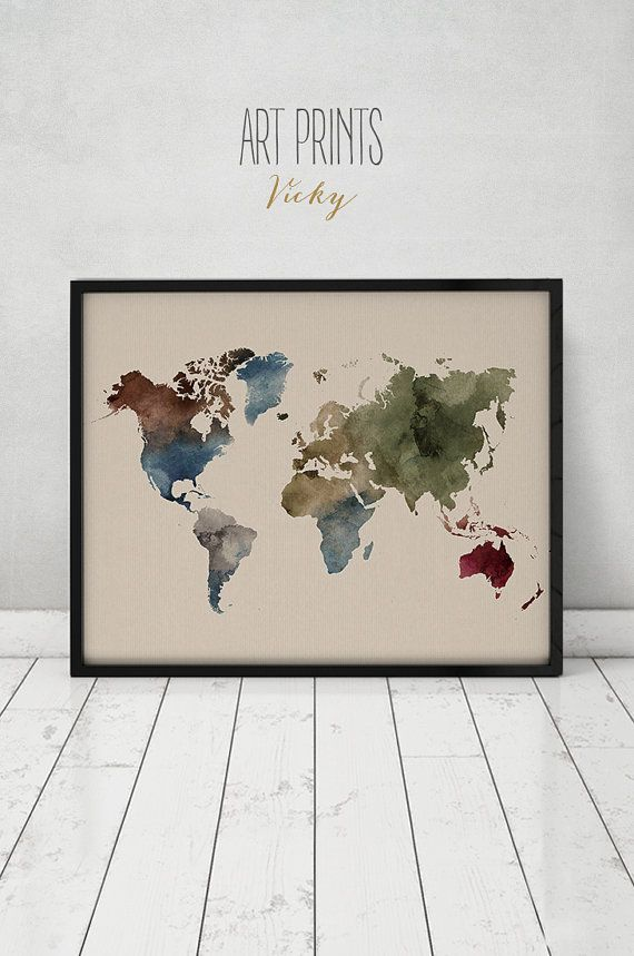 World map art print watercolor map poster large world map travel world map art print watercolor map poster large world map travel map world map watercolor typography art travel decor artprintsvicky gumiabroncs Choice Image