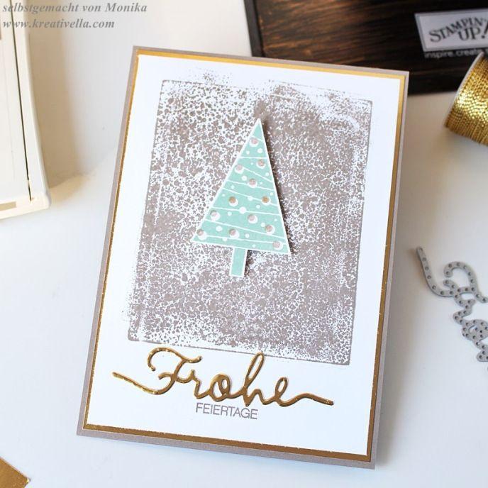 Edle Weihnachtskarten Basteln.Clean And Simple Edle Weihnachtskarte Tannenbaum In Minzmakrone
