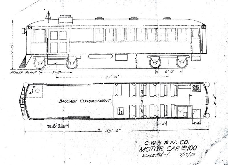 Blueprints: Gas-Electric Doodlebug for the CWR&N | Scenery