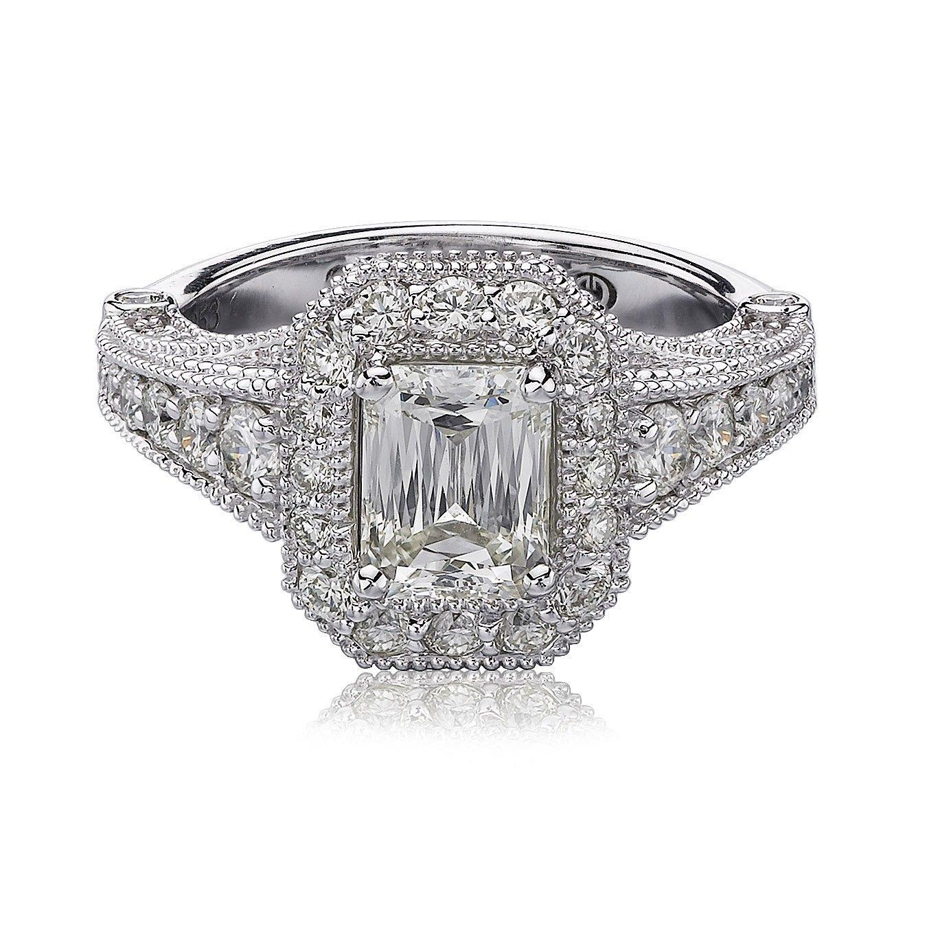 Christopher Designs Vintage Emerald Crisscut Diamond Engagement Ring