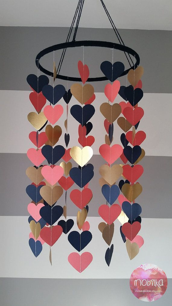 Heart shape paper mobile. Navy, coral and gold. Baby room decoration. Wedding decoration. Baby shower. Child, baby decor