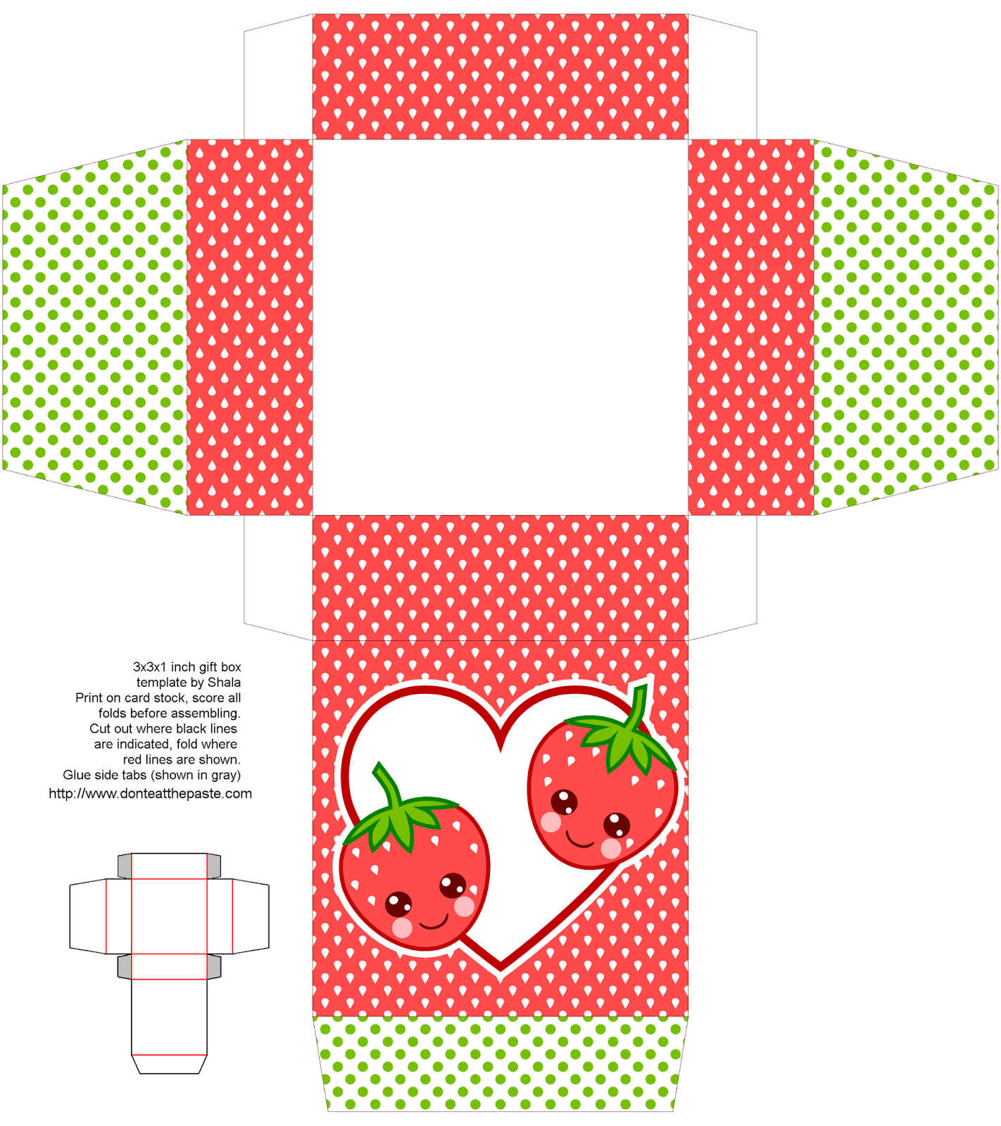 Cute Strawberries Printable T Box
