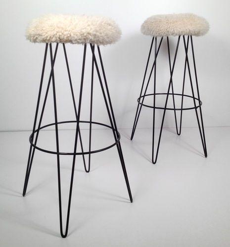 Mid Century Modern Atomic Hairpin Leg Barstools With Sheepskin