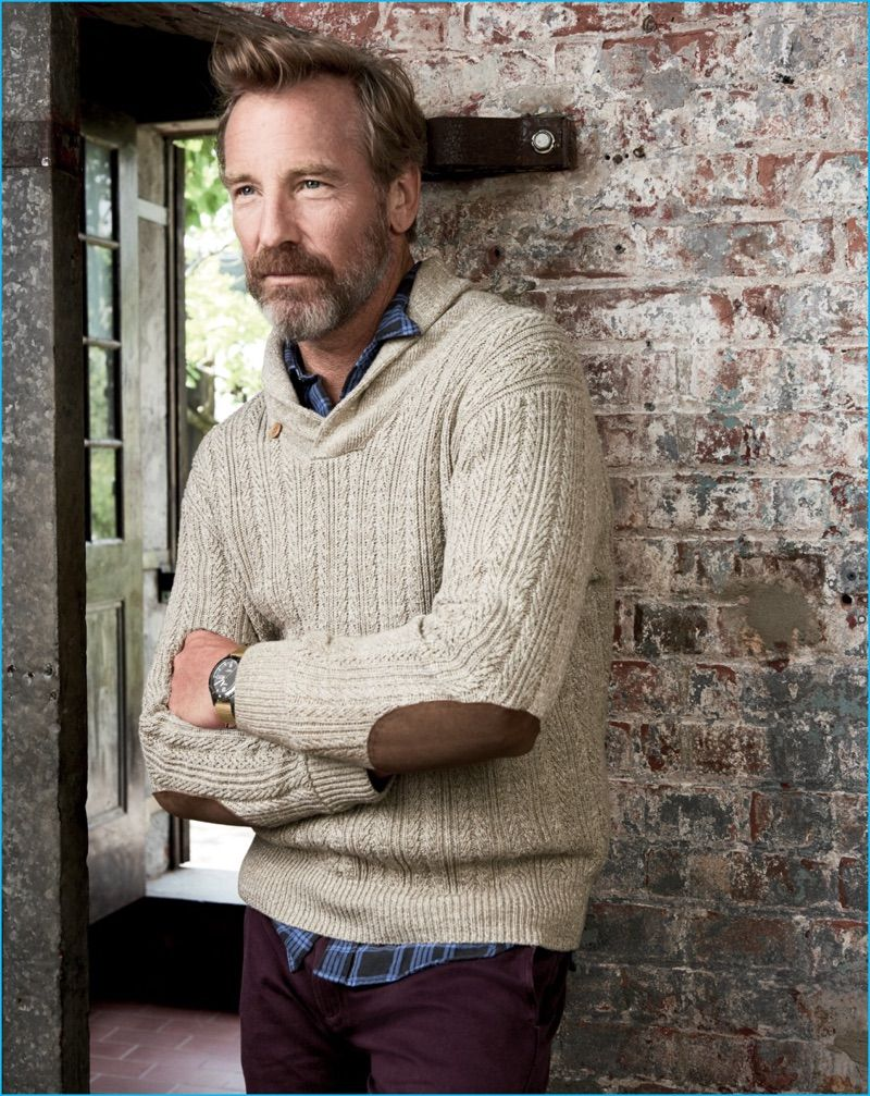 Rainer Andreesen steps out in a J.Crew shawl collar sweater with elbow  patches. fbb6d8719
