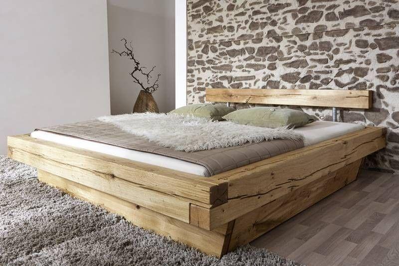 JANGALI Balkenbett mit Bettkasten #130 160x200cm Wildeiche - schlafzimmer bett 200x200