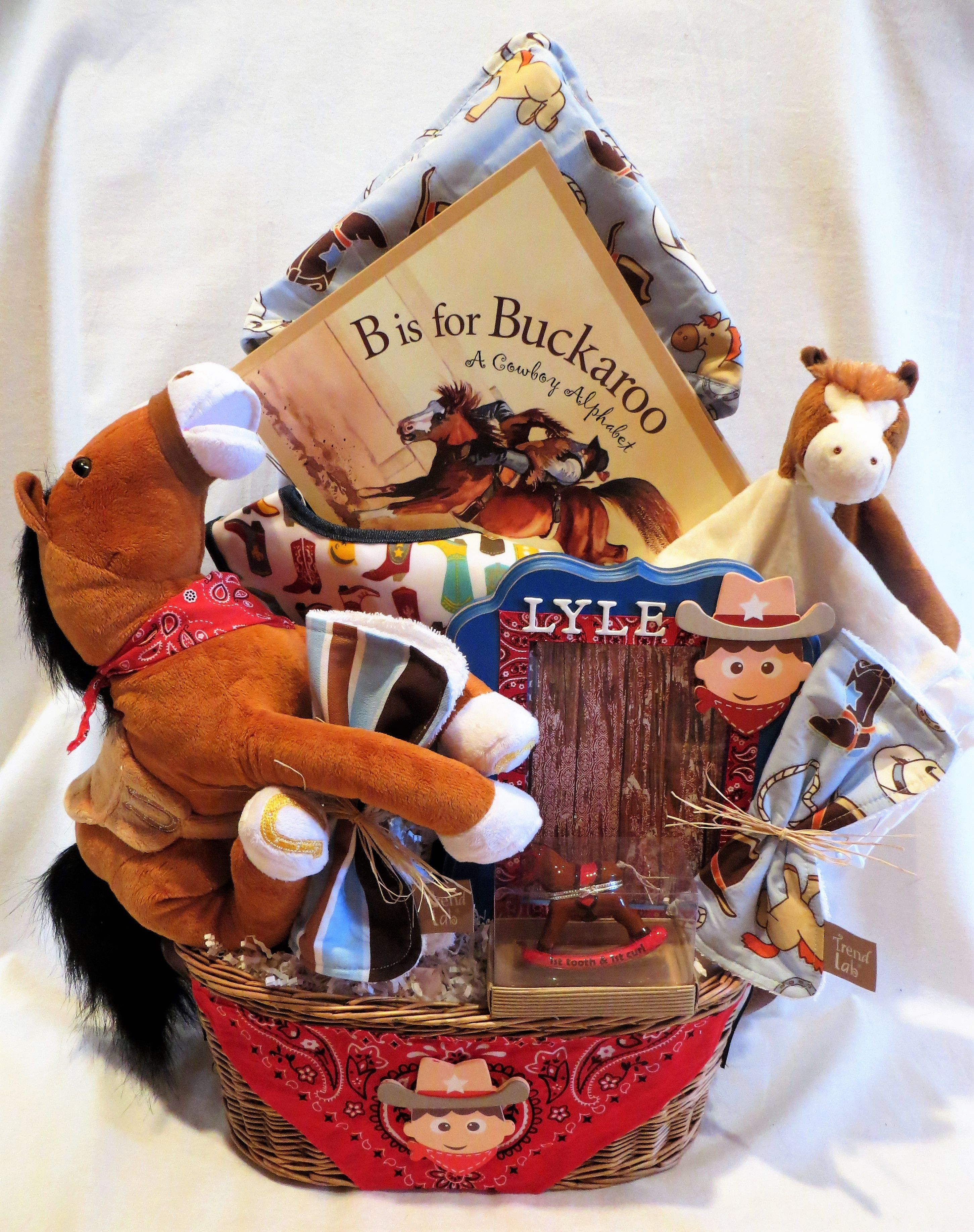 Customized Cowboy Gift Basket For A Baby Shower Give Us A Theme And Budget And We Love To Desig Baby Easter Basket Baby Shower Gift Basket Unique Gift Baskets