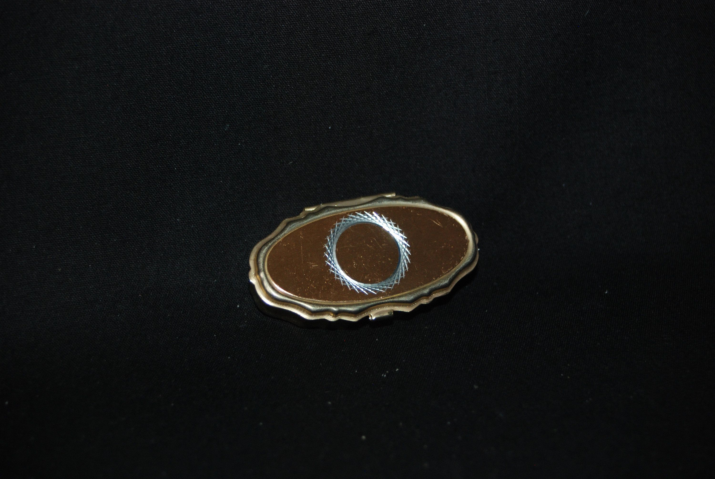 Circle pill box vintage collectible decorative gold colored oval