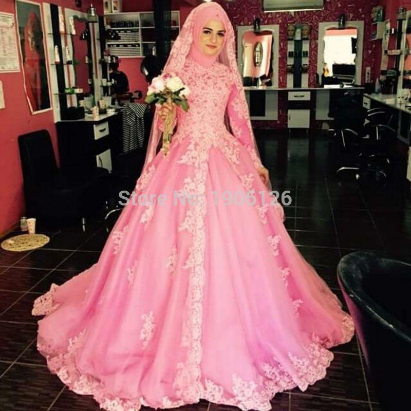 Hot Pink Arab Muslim Wedding Dresses With Hijab Lace Long Sleeve ...