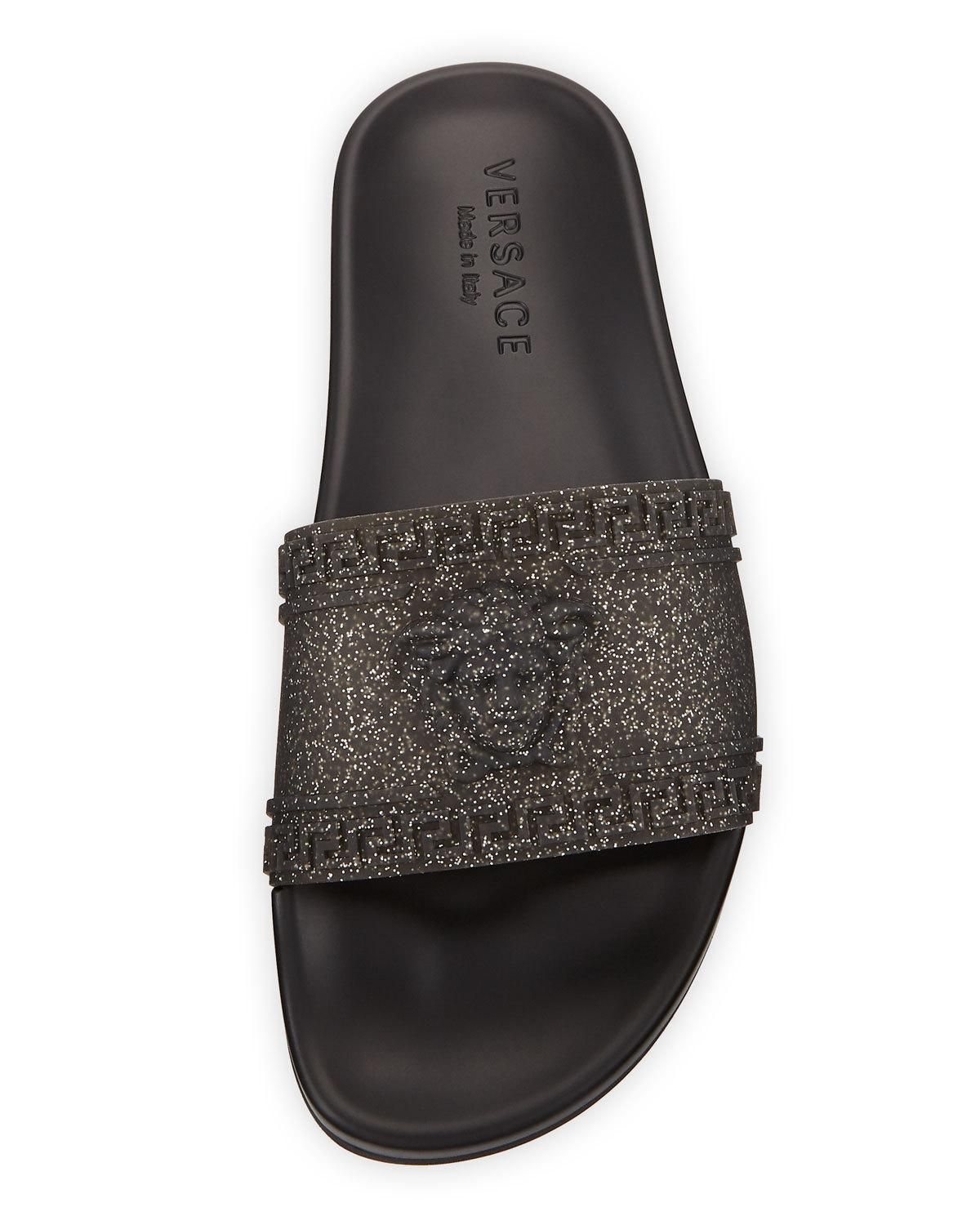 b26162208354 Versace Men s Glitter Shower Slide Sandals