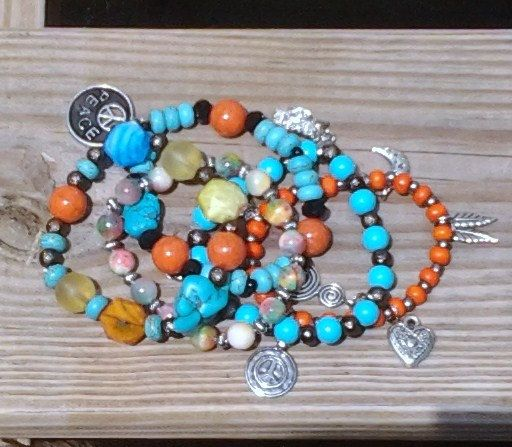 Boho Charm Gemstone Bracelet Stack - Set of Five in Orange, Turquoise and Black....Jade & Howlite Gemstone, Glass and Wooden Beads - SB -011 by NinsWildCreations on Etsy