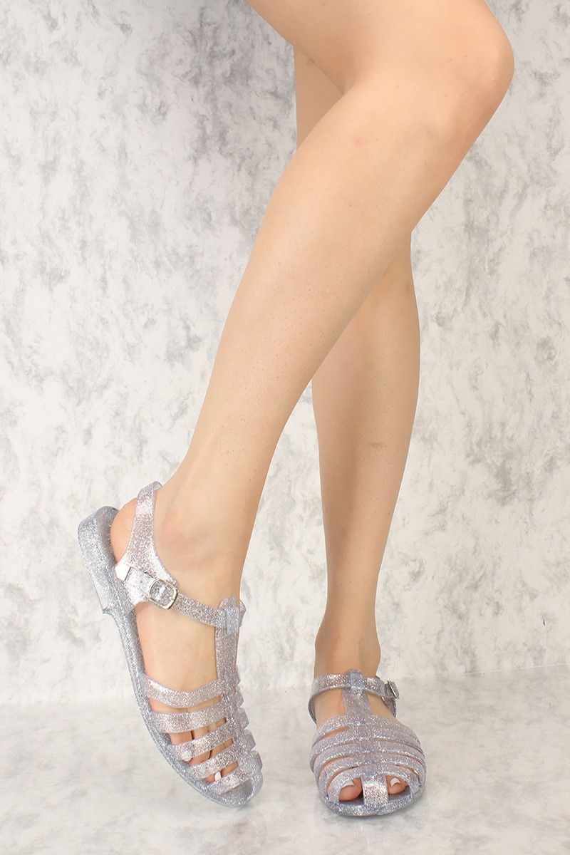 9b0d831651c68 Clear Glitter Strappy Closed Toe Jelly Sandals in 2019