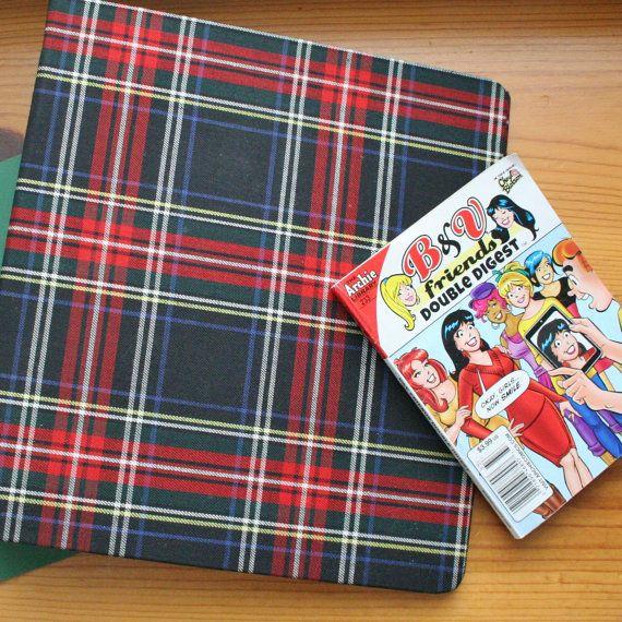 plaid binder linen school supplies vintage