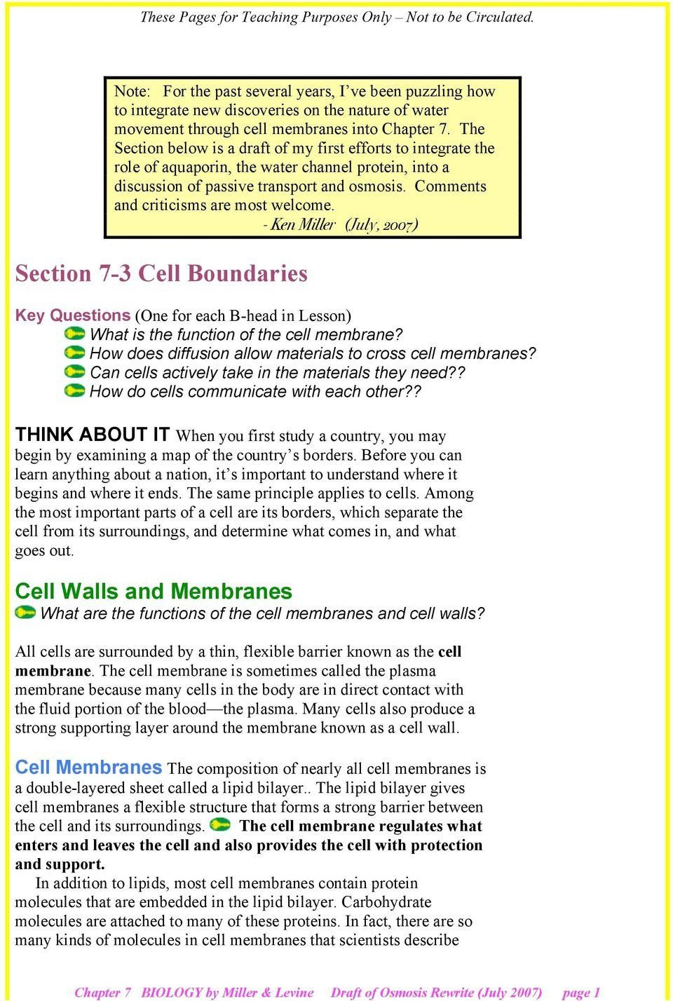 7 3 Cell Transport Worksheet Answers Section 7 3 Cell ...