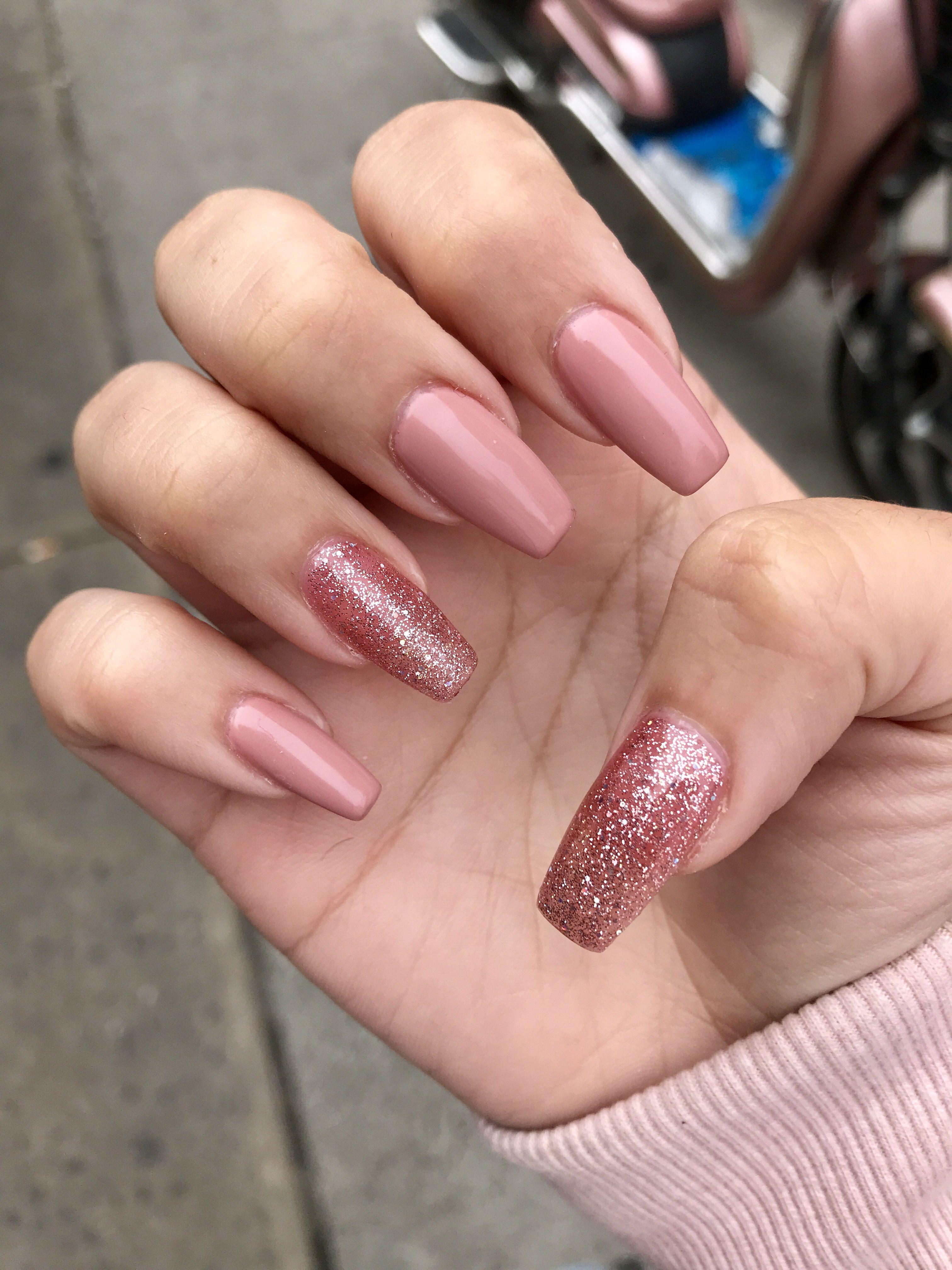fall nails pink gelnail glitter in 2019
