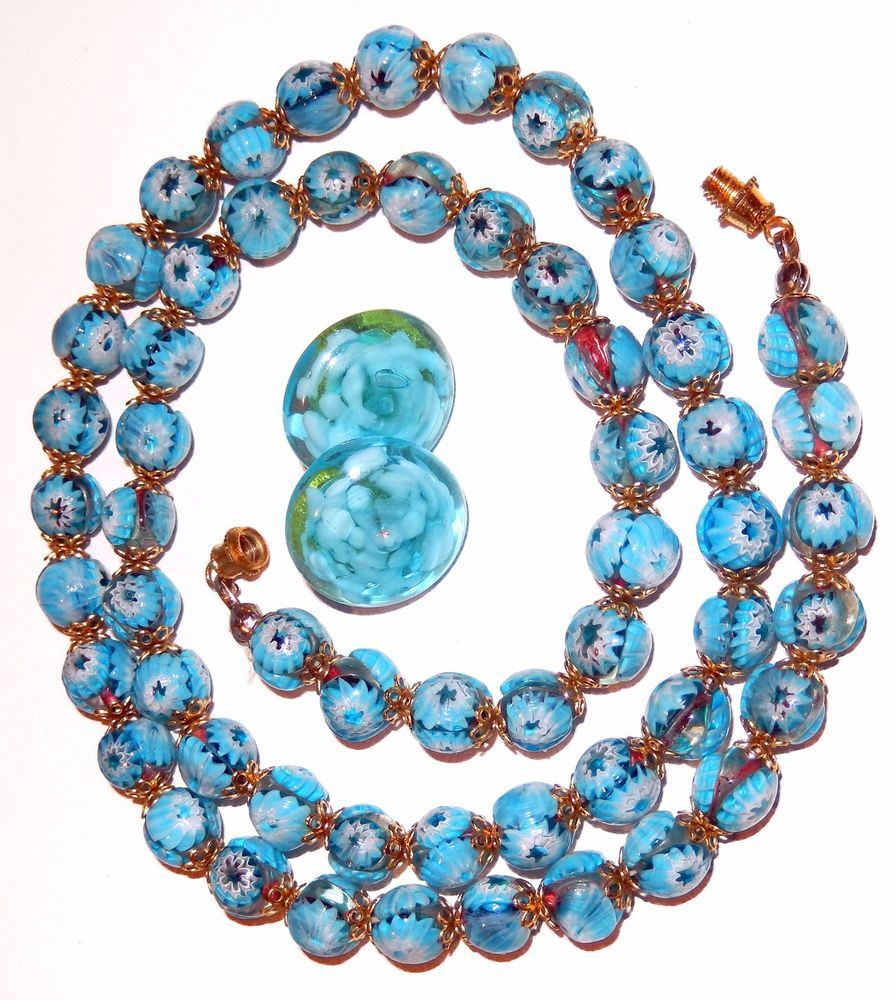 Pin By Lucky Lady Art Antiques On Vintage Earrings Venetian Glass Earrings Glass Bead Necklace Murano Glass Beads