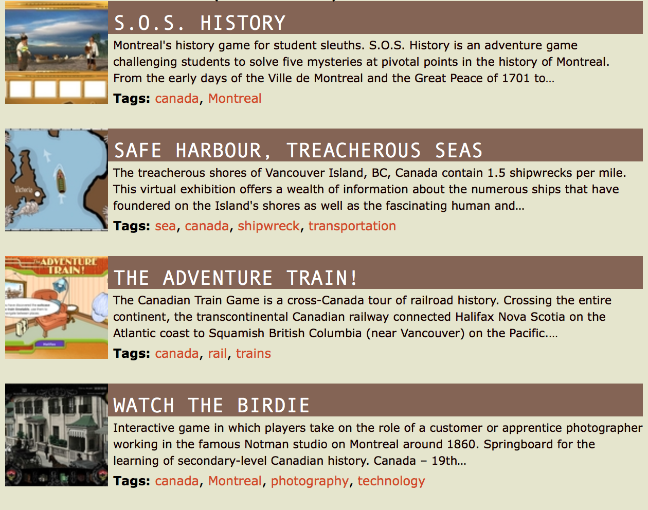 Canadian History Games