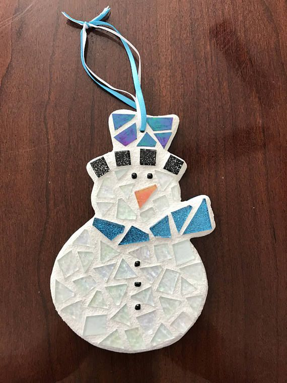 This super cute handcrafted stained glass mosaic snowman decoration