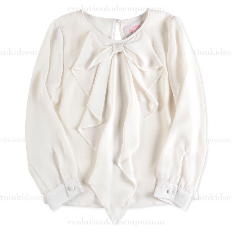 Kids Designer Clothes Clearance | Appaman Ivory Cascade Bow Blouse Evolution Kids Emporium Appaman