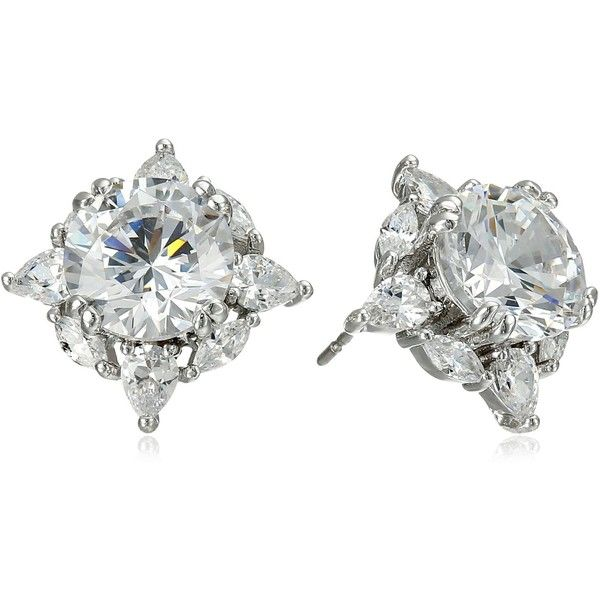 """CZ by Kenneth Jay Lane """"Trend"""" Round Cubic Zirconia Glamorous Post... ($98) ❤ liked on Polyvore featuring jewelry, earrings, zirconia stud earrings, cz earrings, zirconia jewelry, zirconia earrings and cubic zirconia jewelry"""