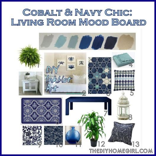 Cobalt And Navy Chic Living Room Mood Board Colors Palette Scheme Decor Dove Gray Aqua Neptune
