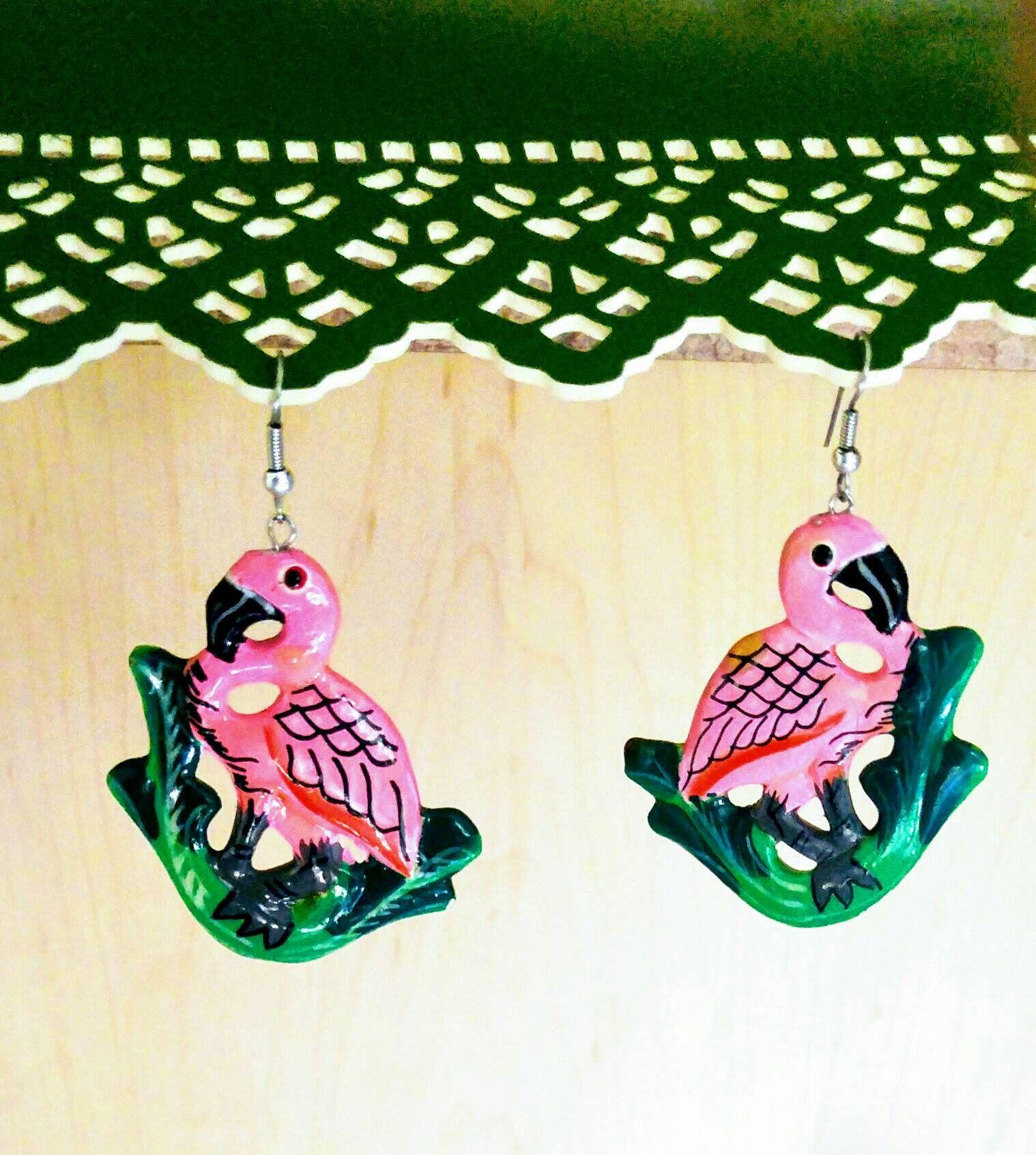 Vintage flamingo earrings