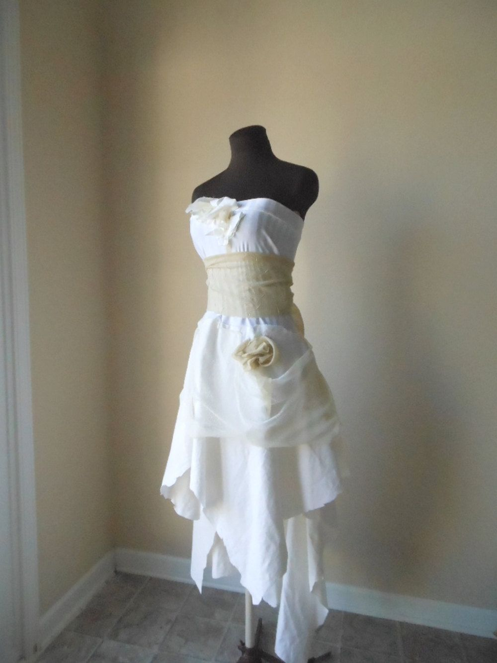 Bohemian Pixie Wedding Dress Cotton Lace Tattered Shabby Chic Gypsy Fairy Strapless Country Garden Steampunk Gown