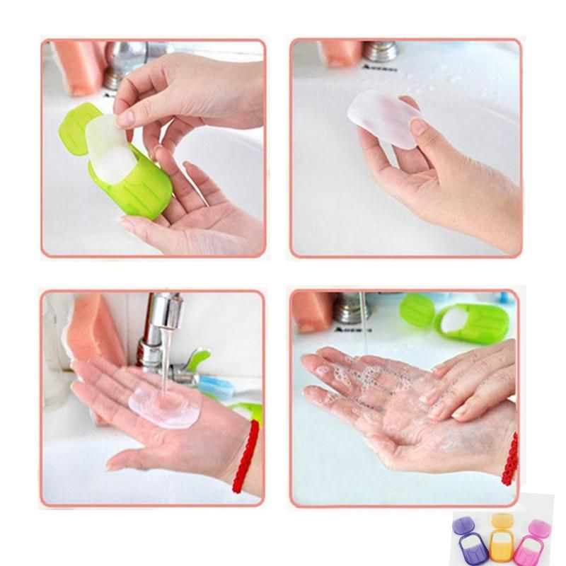 1 pc Box Portable Washing Slice Sheets Hand Bath Travel Scented Foaming Paper Soap