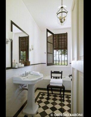 Black White Checkered Floor For Small Bathroom