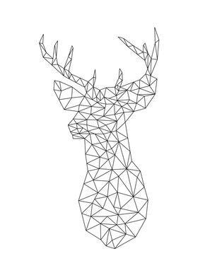 Origami Deer Art Print Geometric Animal DIY Wall