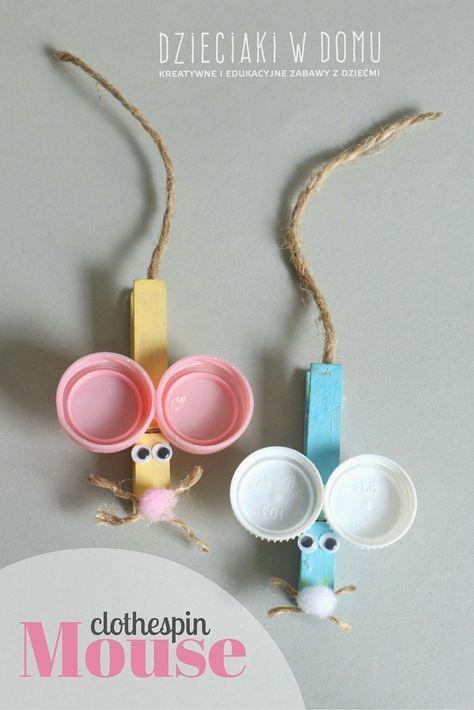 Myszki z drewnianych klamerek - Dzieciaki w domu