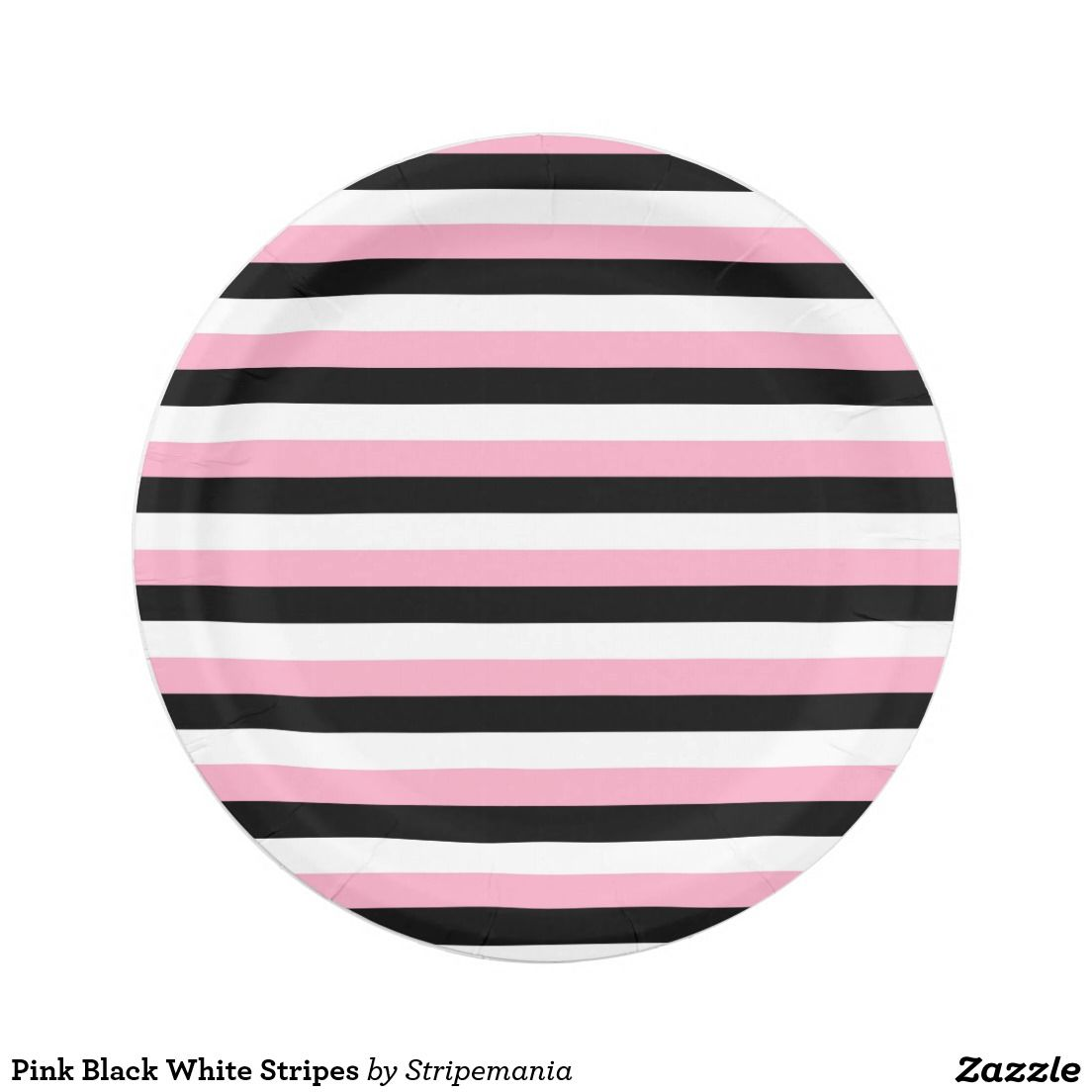 Pink Black White Stripes Paper Plate  sc 1 st  Pinterest & Pink Black White Stripes Paper Plate | Black white stripes Pink ...