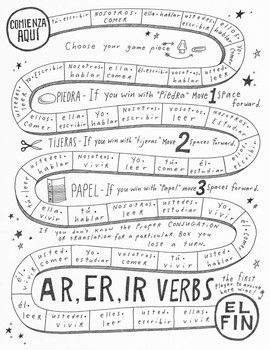 AR, ER, IR Spanish verb game board no prep Spanish verb