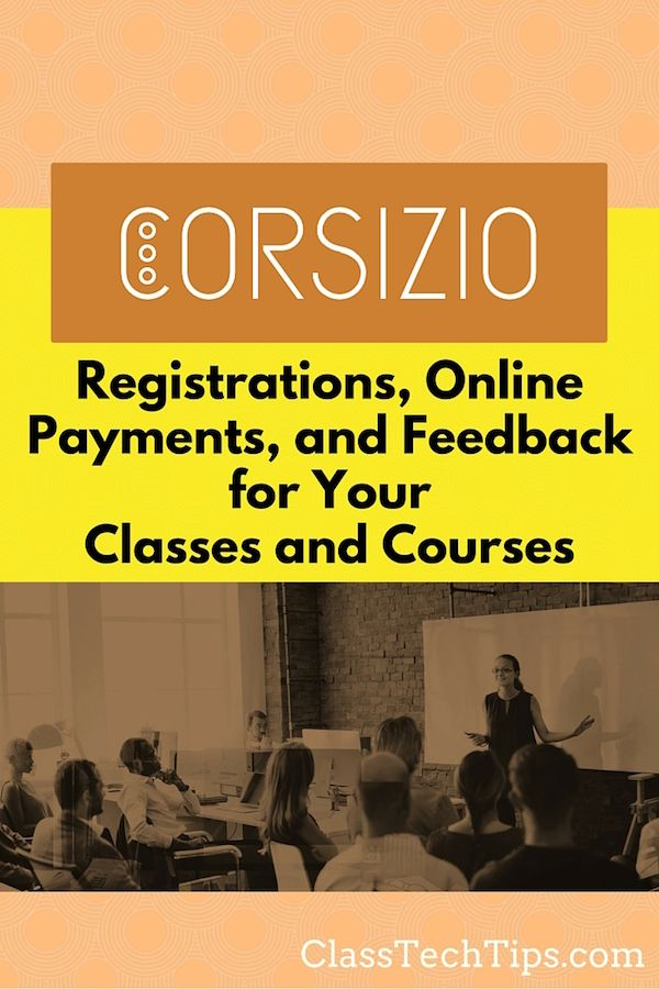 Corsizio Registrations, Online Payments, and Feedback for Your - registration forms