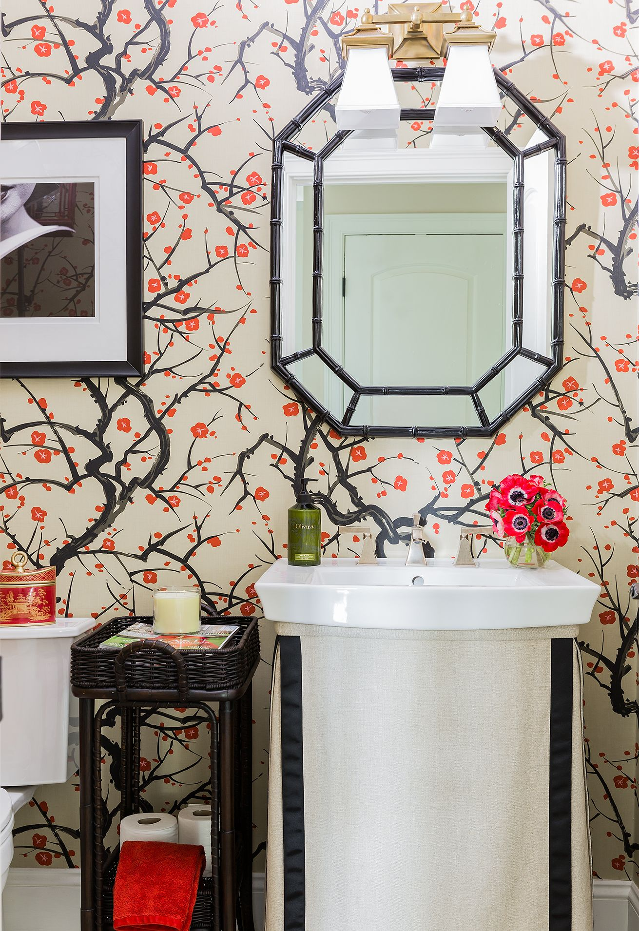 Portfolio Elements of Style Blog powder room wallpaper