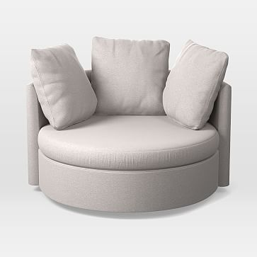 Shelter Round Swivel Chair, Marled Microfiber, Ash Gray | Ash Grey, Swivel  Chair And Products