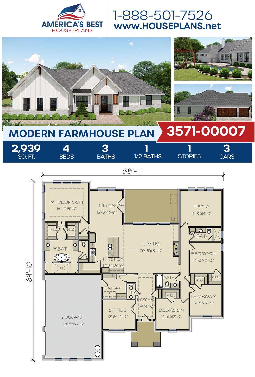 House Plan 3571 00007 Modern Farmhouse Plan 2 939 Square Feet 4 Bedrooms 3 5 Bathrooms Modern Farmhouse Plans New House Plans House Blueprints
