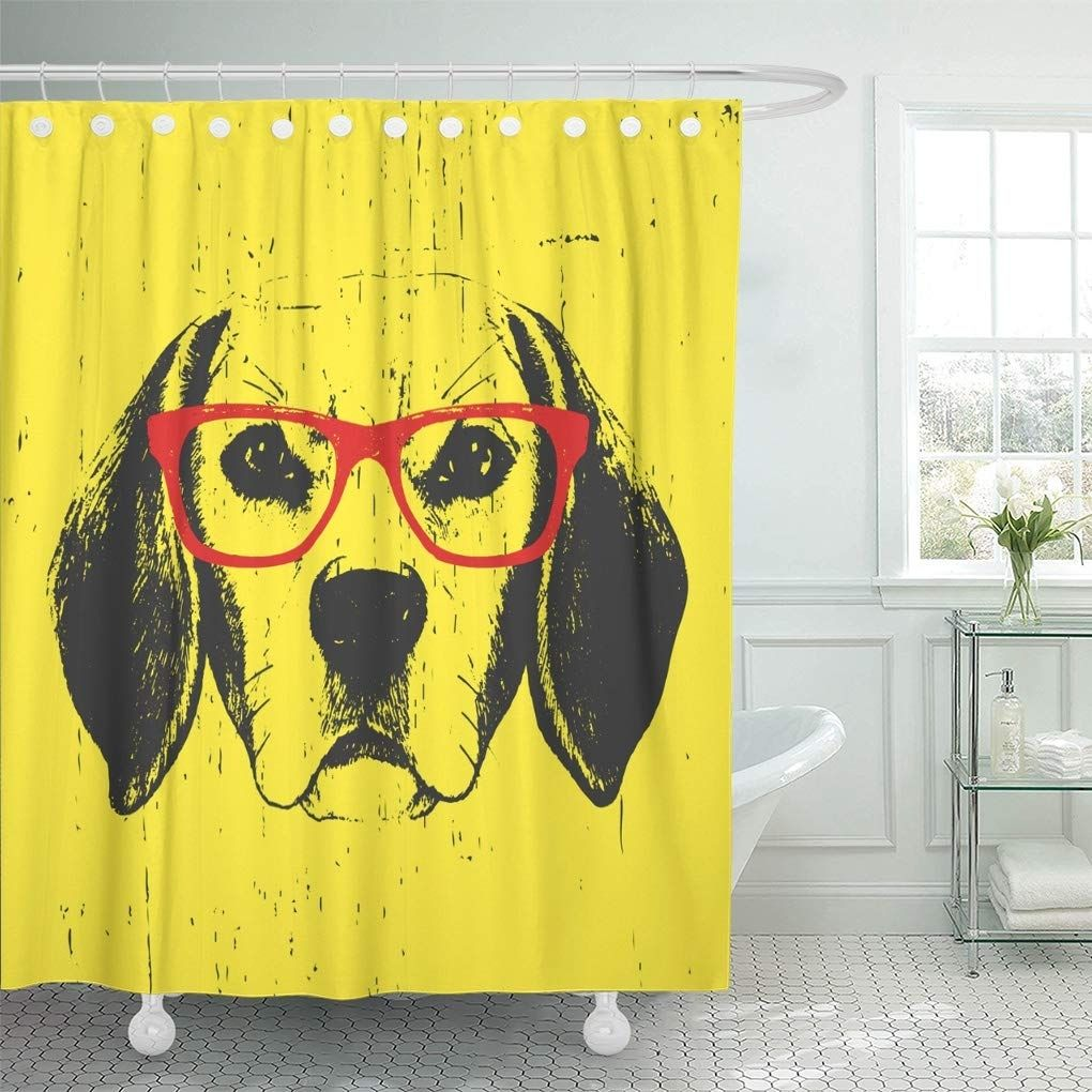 Blue Cute Portrait Of Beagle Dog Glasses Puppy Shower Curtain