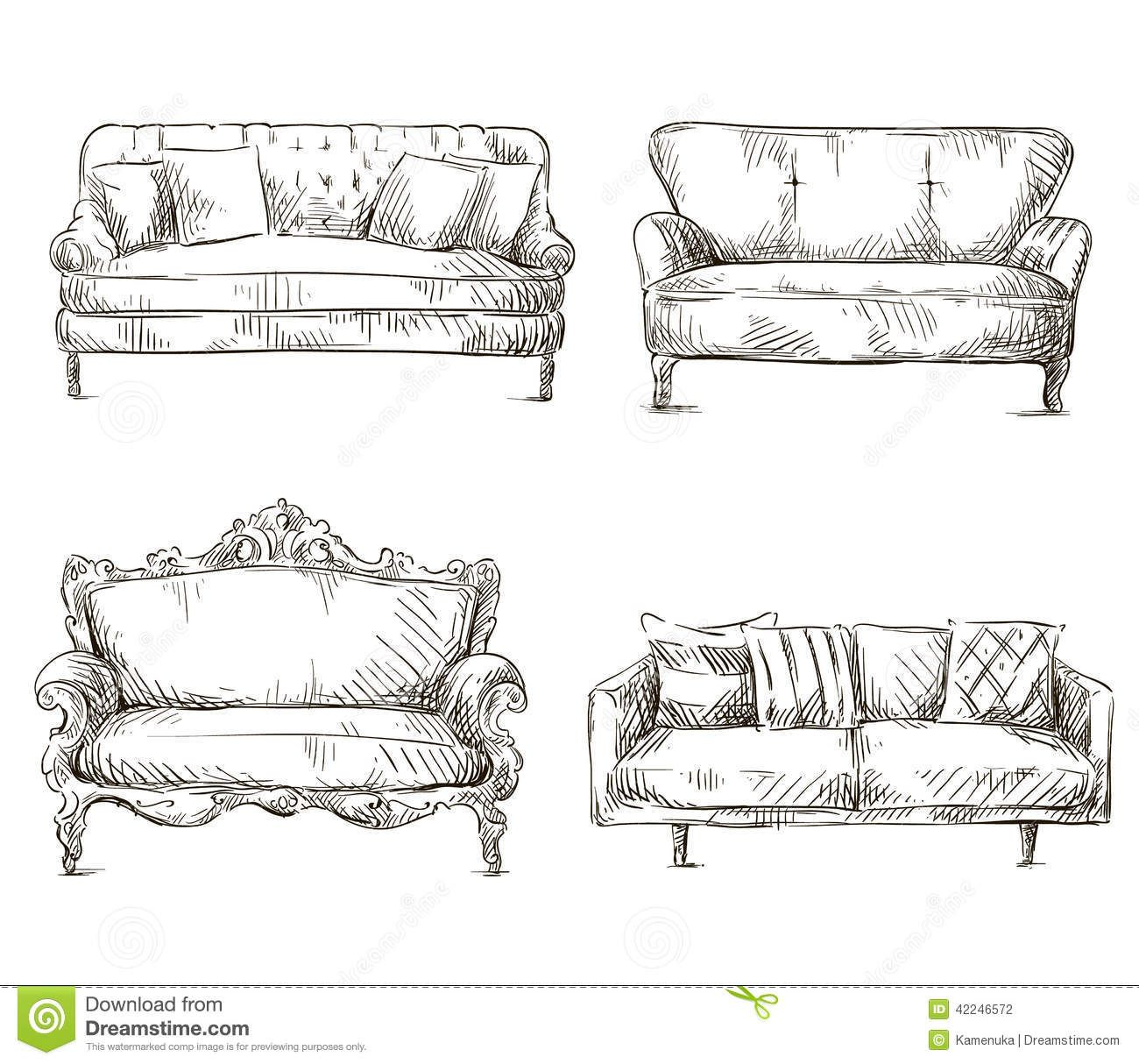Set Of Sofas Drawings Sketch Style Vector Illustration Stock
