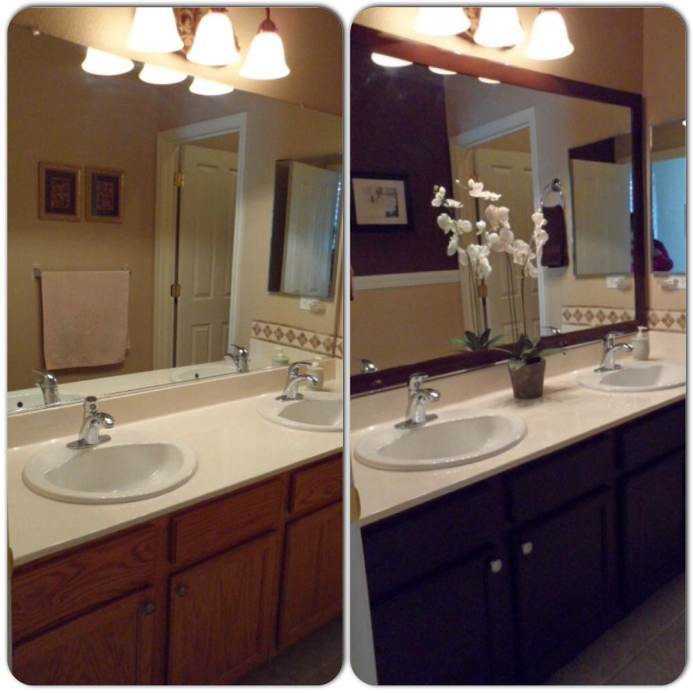 Staining Oak Cabinets An Espresso Color Diy Tutorial: Main Bathroom Remodel. Framed Mirror With Mdf Trim, Then