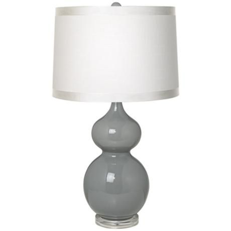 White Drum Shade Double Gourd Slate Grey Ceramic Table Lamp T5902 R0144 Lamps Plus Grey Table Lamps Ceramic Table Lamps Table Lamp