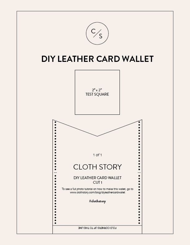 Diy Leather Card Wallet With Free Printable Pattern Clothstory Com Classic Minimalist Leather Card Wallet Diy Card Templates Free Card Wallet