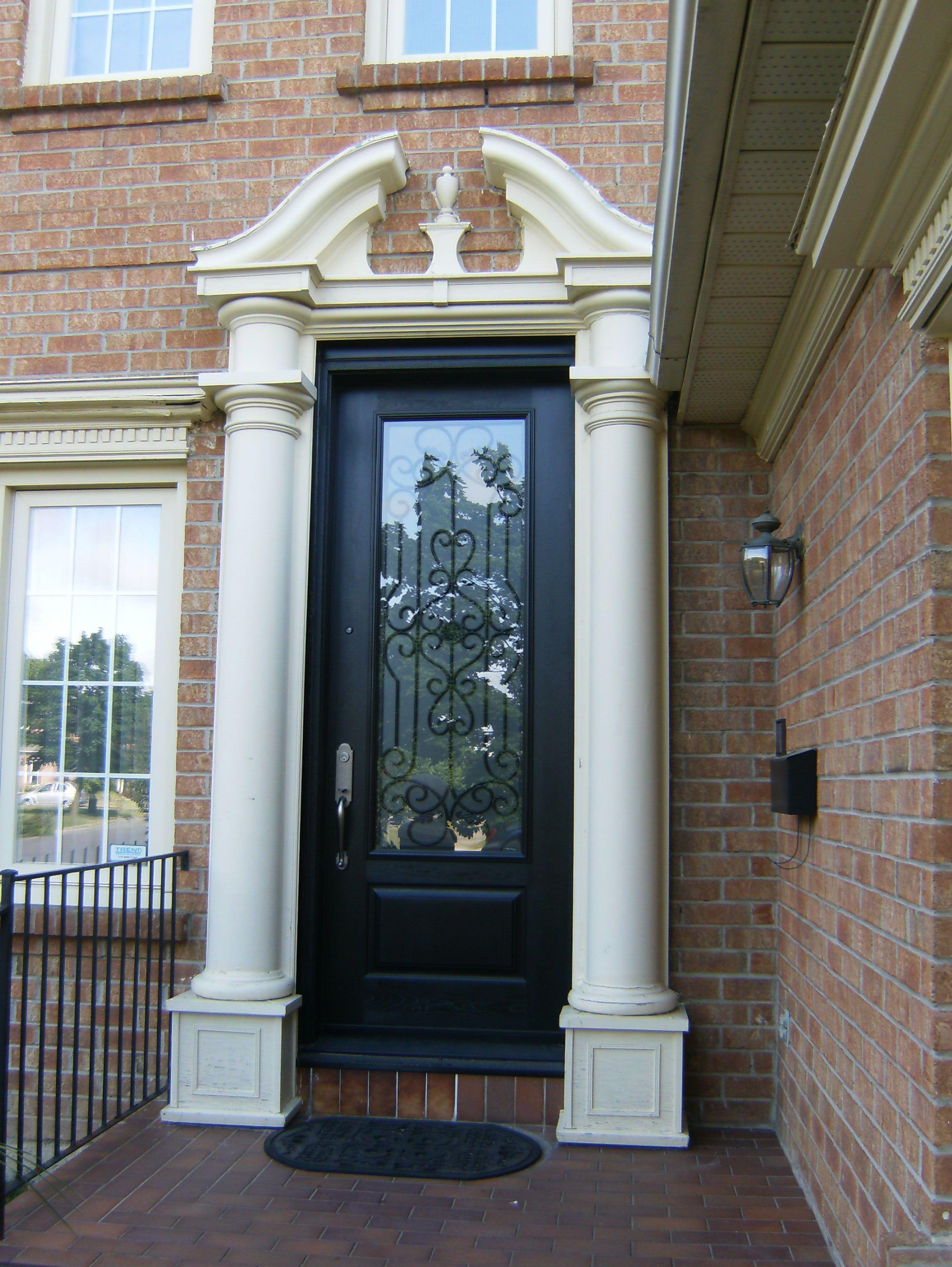 Door and transom replacement - 8\u0027 fiberglass door with 3/4 glass wrought iron & Door and transom replacement - 8\u0027 fiberglass door with 3/4 glass ...