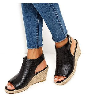 7540f6bbbba2c0 Wide Fit Black Perforated Espadrille Wedges