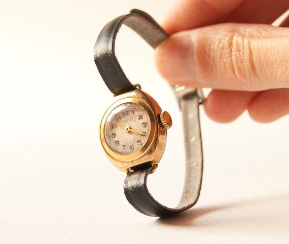 Soviet women's watch Luch ultra small gold plated by SovietEra, $41.00