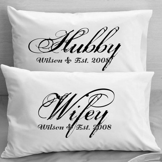S Pillow Cases Custom Personalized Wifey Hubby Wife Husband Wedding Anniversary Valentine Gift Idea For