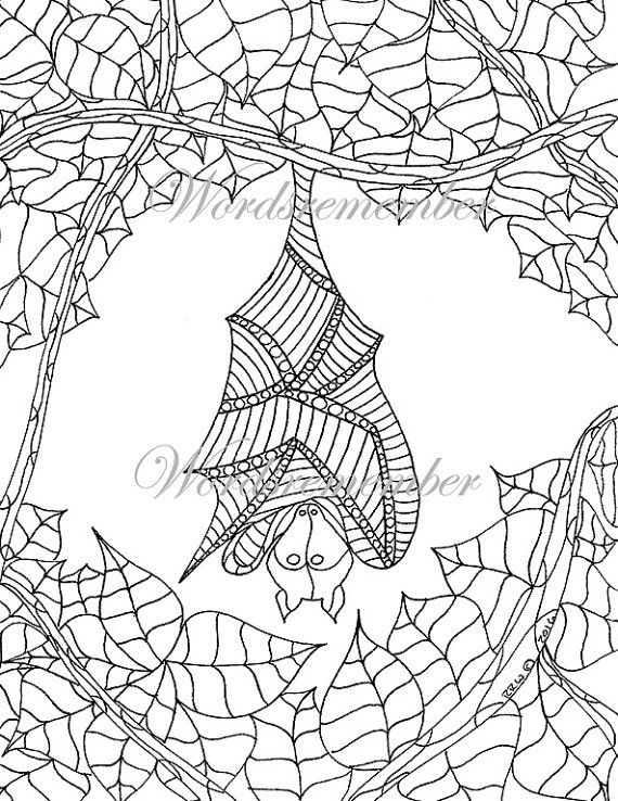 Bat Art Adult Coloring Page Instant Download By Wordsremember